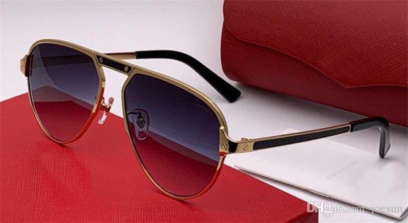 Les dernières lunettes de soleil de designer de mode 0101 cadre pilote couture couture protection des jambes couleur claire couleur lunettes décoratives top qualité