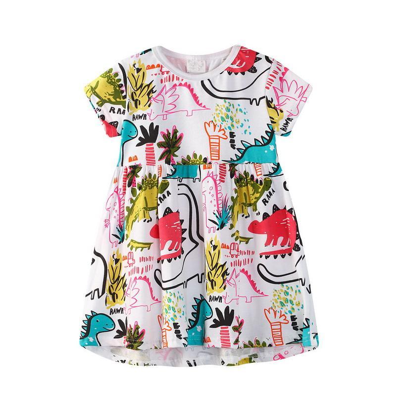 95% Cotton Girl Dress Cartoon Dinosaur Graffiti Print Comfortable Short Sleeve Princess Dress Lovely Fashion Folds Kid Clothes