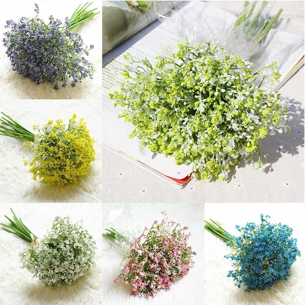 16 pçs / set bebês respiração flores artificiais Gypsophila falso buquês de flores arranjo de casamento em casa decoração de festa de jardim
