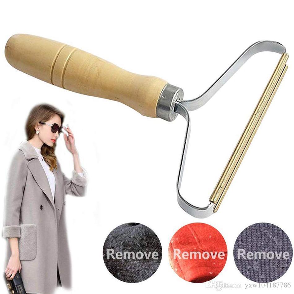 Portable Legno Lint Remover abiti di lana maglione Clean Tool Abbigliamento Pulizia Fuzz Shaver Multi-Fabric Maglione Pettine con acciaio rete peli di animali domestici