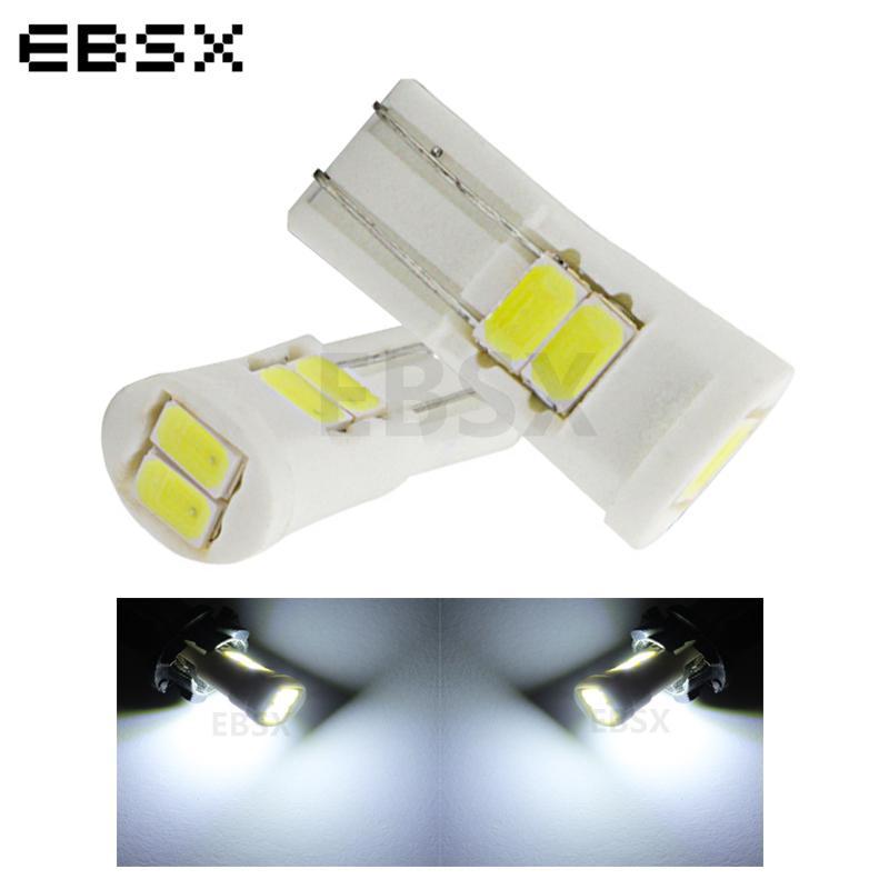 EBSX 100pcs T10 Seramik LED W5W 6 SMD 5630 6SMD 5730 LED 194 168 Araç Plaka Lambaları İç Ampuller Beyaz