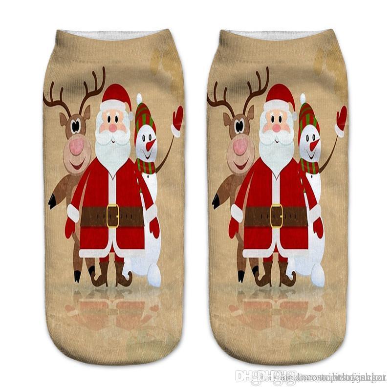 Merry Christmas Print Womens Sock Fashion Santa Claus Milu Deer Print Sock Slippers Donna Casual Hosiery