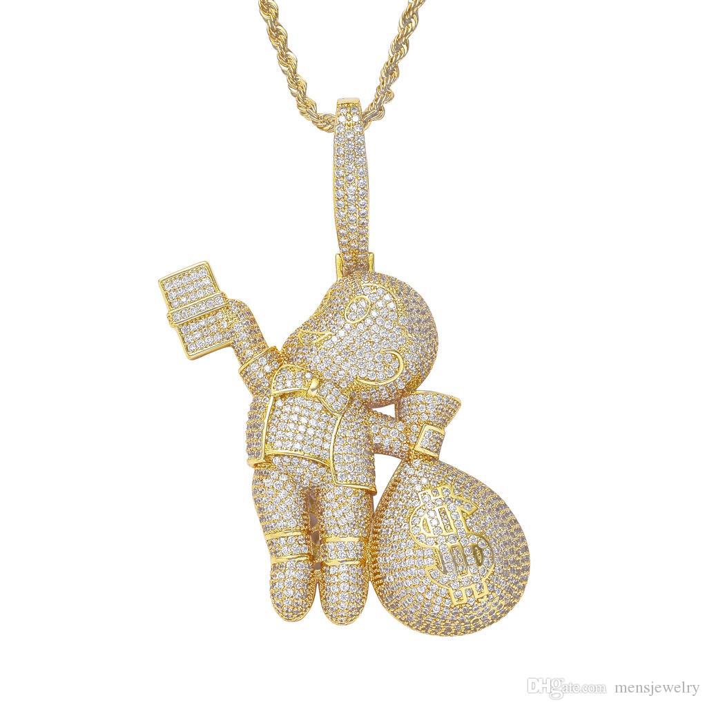 فاخر مصمم قلادة مثلج خارج قلادة الماس بلينغ حقيبة المال السحر الهيب هوب مجوهرات رجالي سلسلة ذهبية كبيرة المعلقات الأزياء وبيان بوي