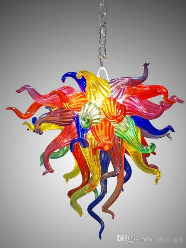 Small LED Chandelier Lighting Colorful Modern Crystal Pendant Light for Home Decoration Hand Blown Stained Glass Chain Chandelier Lighting