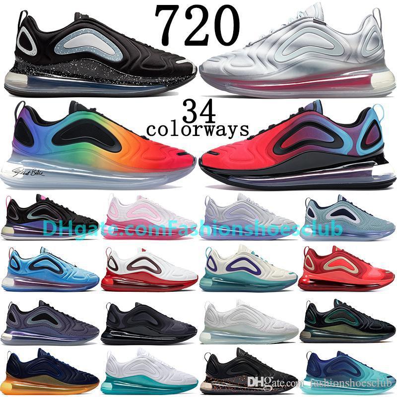 2020 جديد السرية الأسود النيون الشرائط يكون صحيحا 720OG النيون مجموعة فولت النساء الرجال runnning الأحذية البحر الوردي غابة الغروب حذاء رياضة