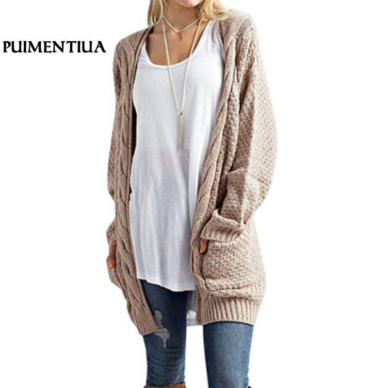 Puimentiua 2018 mujeres de manga larga de punto suéter largo de las rebecas otoño invierno capa ocasional Tamaño Cardigan ganchillo suéter Plus