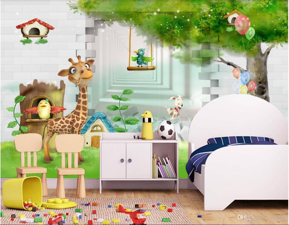 3d room wallpaper custom photo non-woven mural 3d giraffe 3d cartoon children room kids room mural wallpaper for walls 3 d