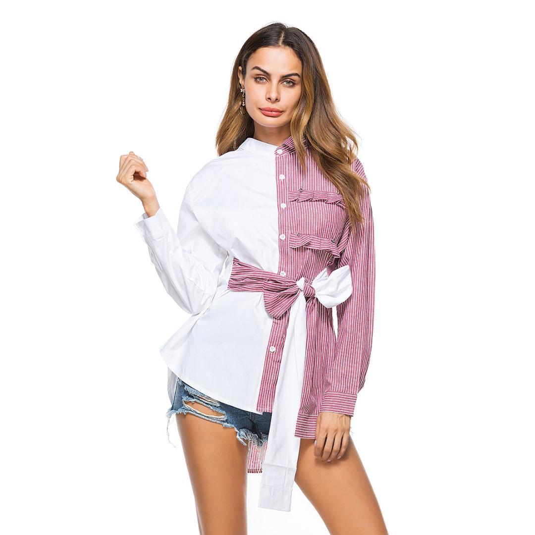 Moda-Kadın İş Casual Giyim Bayan Büro Gömlek Haki Foldover Kelebek Kuşaklı Bel Asimetri Kişilik Bluz