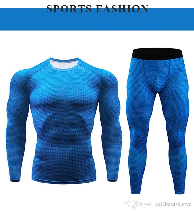 Mens Designer Фитнес-комплекты Сплошной цвет с длинным рукавом мужские Crew Neck костюмы Распечатать Самцы спортивная одежда