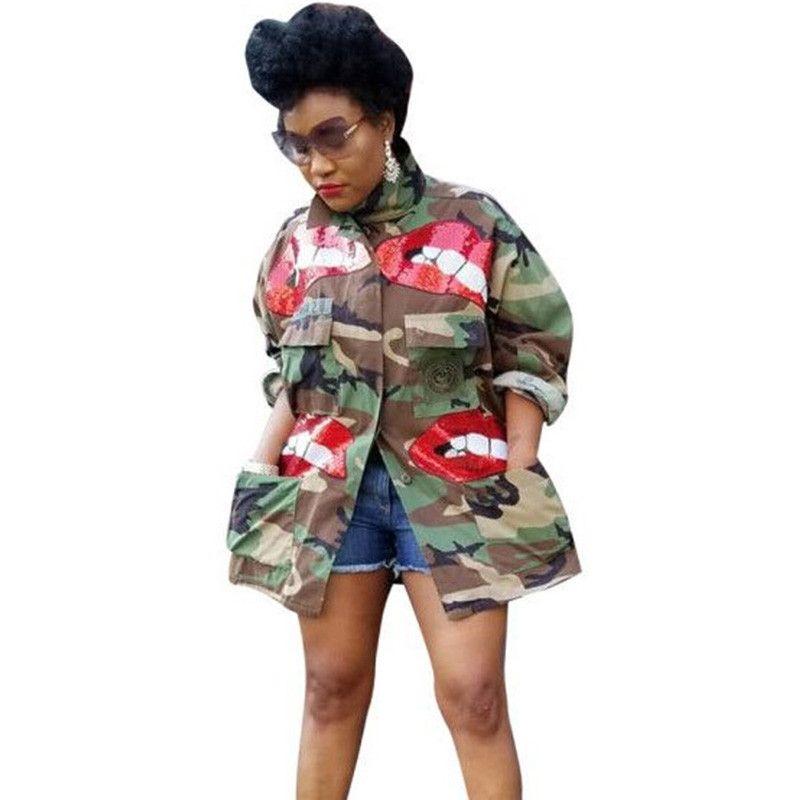 가을 겨울 장식 조각 립 위장 카모 자켓 코트 여성 하이 넥 버튼 업 포켓 슬림 스트리트 캐주얼 자켓
