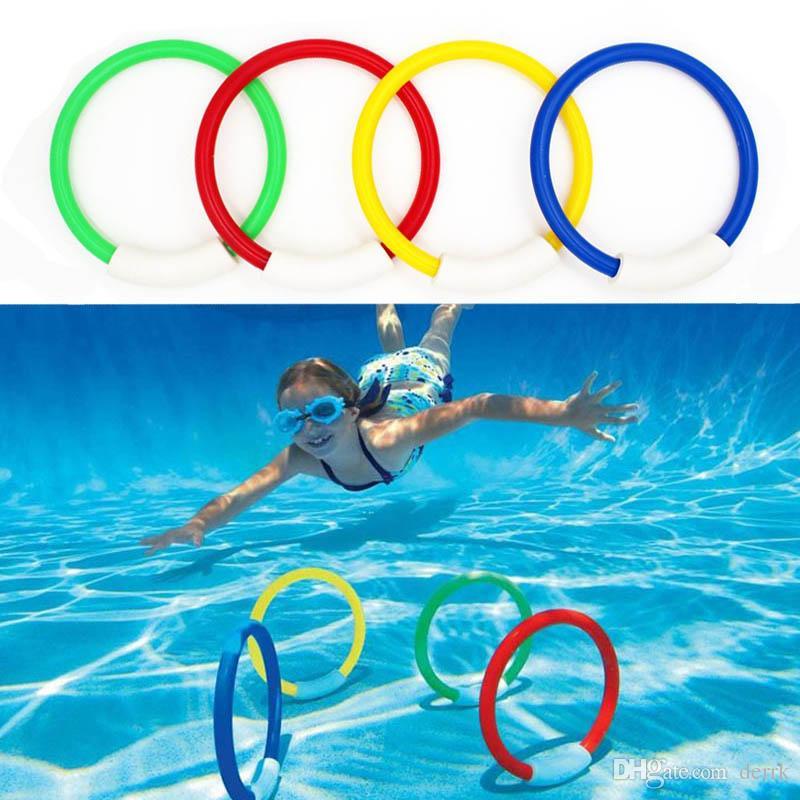 4 PCS / 팩 아이 다이빙 링 워터 장난감 수중 수영장 액세서리 다이빙 부표 4 개의로드 던지기 장난감