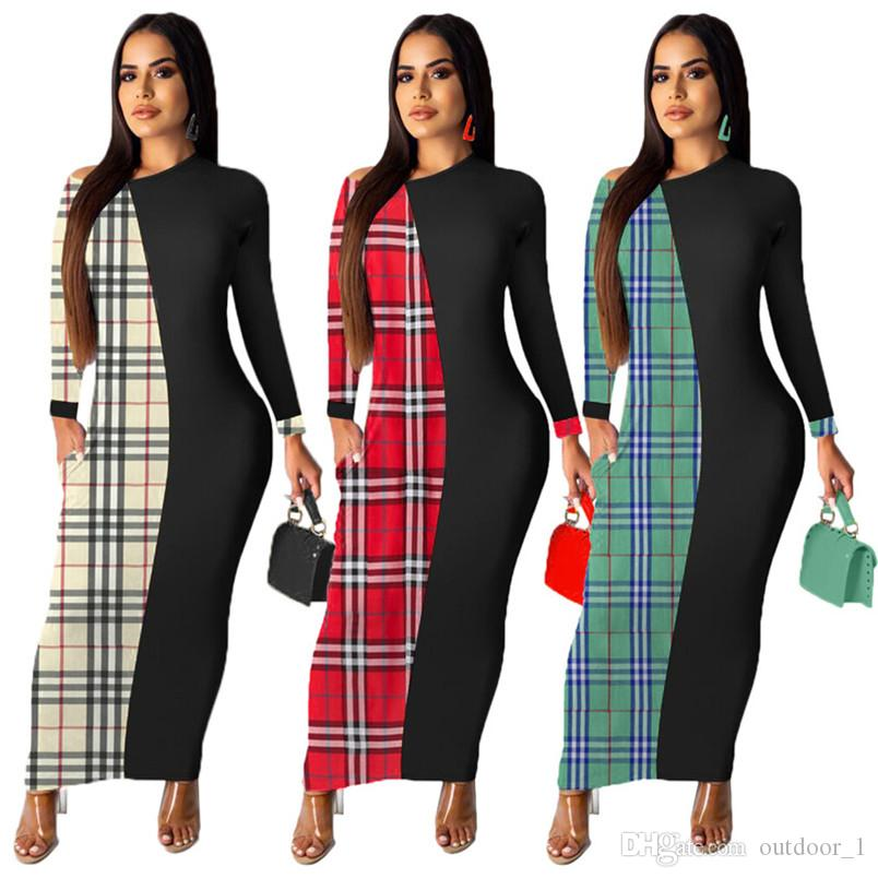 Women Designer Fall Midi Dresses Plaid Long Sleeve Skirts Panelled Plus Size S-2XL Casual Clothing Sexy Bodycon Dresses HOT selling 1480