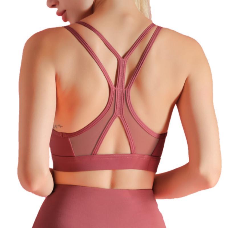Las mujeres se divierte el sujetador atractivo de malla transpirable Deportes Top empuja hacia arriba el gym hembra femenino sin fisuras Yoga Ejecución de sujetador