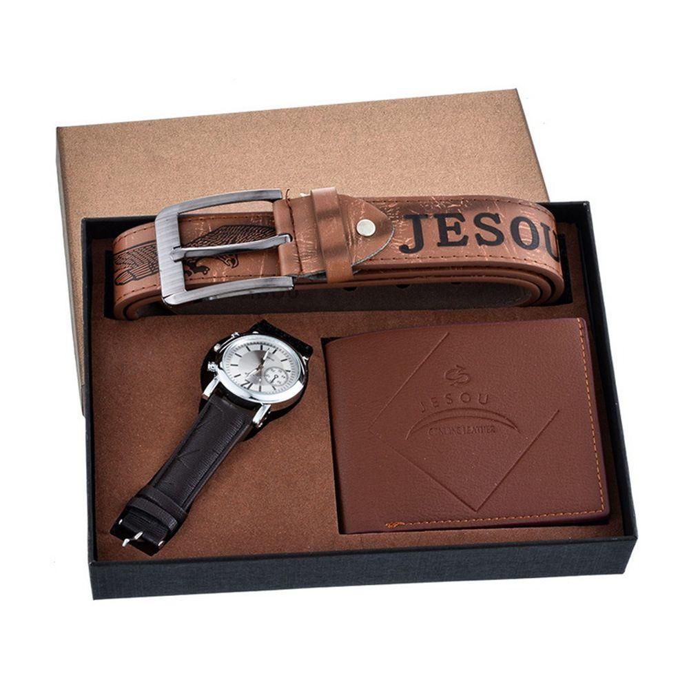 Man Will Clock Dial Personality Round Pu Bring Quartz Wrist Watch Gift Suit 3pcs/set