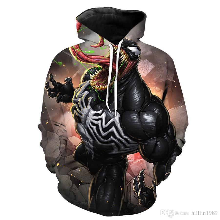 남자 만화 독 Streetwear 슈퍼 히어로 후드 Unisex 참신 만화 코스프레 의류 남성 플러스 사이즈 American Movie Sweatshirts