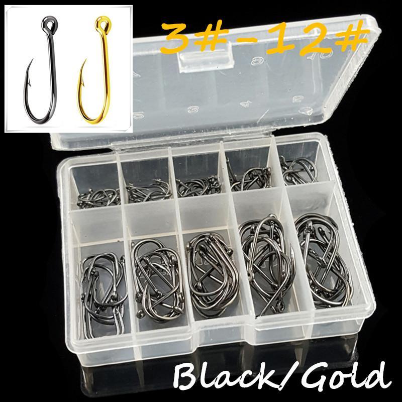 100pcs/1box 10 Sizes 3#-12# Ise Hook High Carbon Steel Black & Gold Fishing Hooks Transparent Box BL_45
