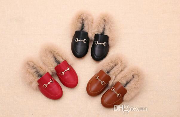 Venta caliente Diseñador Marrón Zapatos Niños Zapatos Zapatos de Lujo Otoño Piel de Conejo Real Regalo de los niños