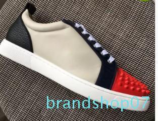 Homens e mulheres novos Designer Preto Vermelho Branco Low-cut Sneakers famosa marca Red inferior Designer Mens Luxo Shoes Genuine mn18965802 Couro