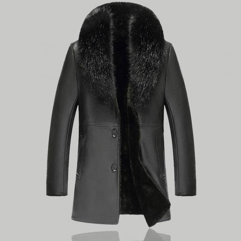 Stylish Mens Winter Warm Faux Leather Jacket Fur Collar Motorcycle Coat Overcoat
