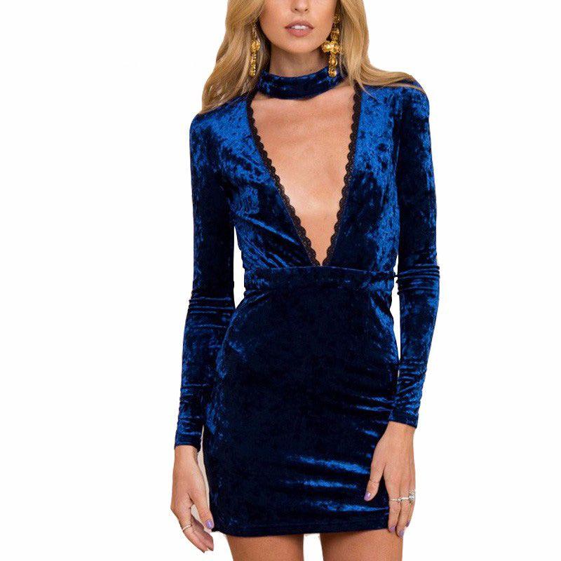 Vestito aderente Holder sexy del merletto del velluto del vestito dalle donne del partito Split lato autunno inverno vita alta Red Dress Vestido