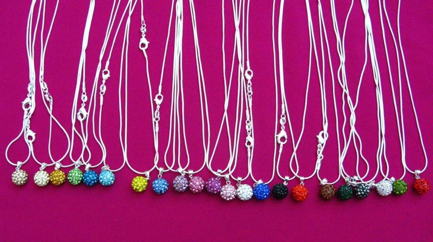 10 mm mélange multicolore 16 pouces mdg34n serpent prix des bijoux de mode plus bas Disco Balls pendentifs en cristal collier Chaînes