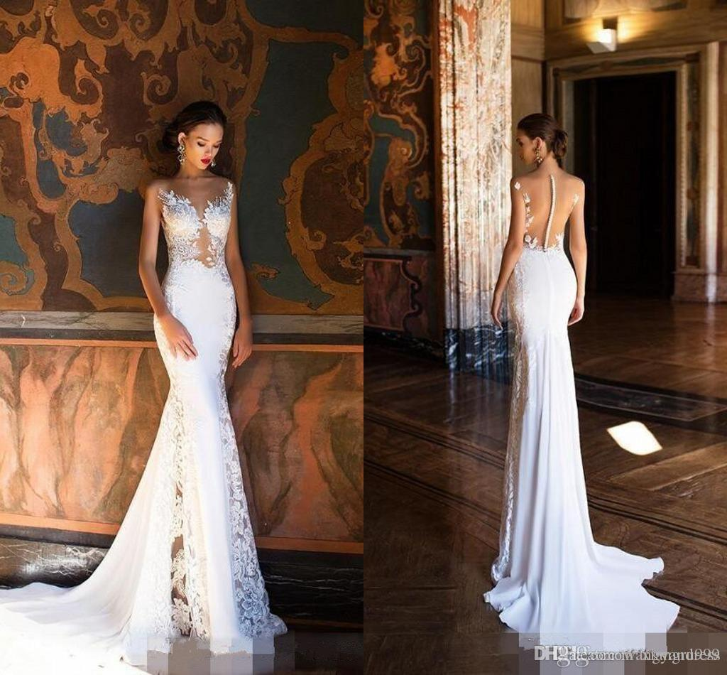 New Arrival Lace Mermaid Wedding Dresses Sexy Illusion Bodices Milla Nova Wedding Gowns Sheer Plunging neckline Applique Lace Bridal Dress