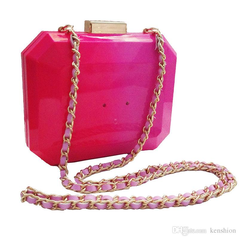 Favorable Women Perfume Bag Patchwork Hot Acrylic Bags Famous Brand Evening Bag Handbag Block Ladies Vintage Clutch Purse With Chain Strap