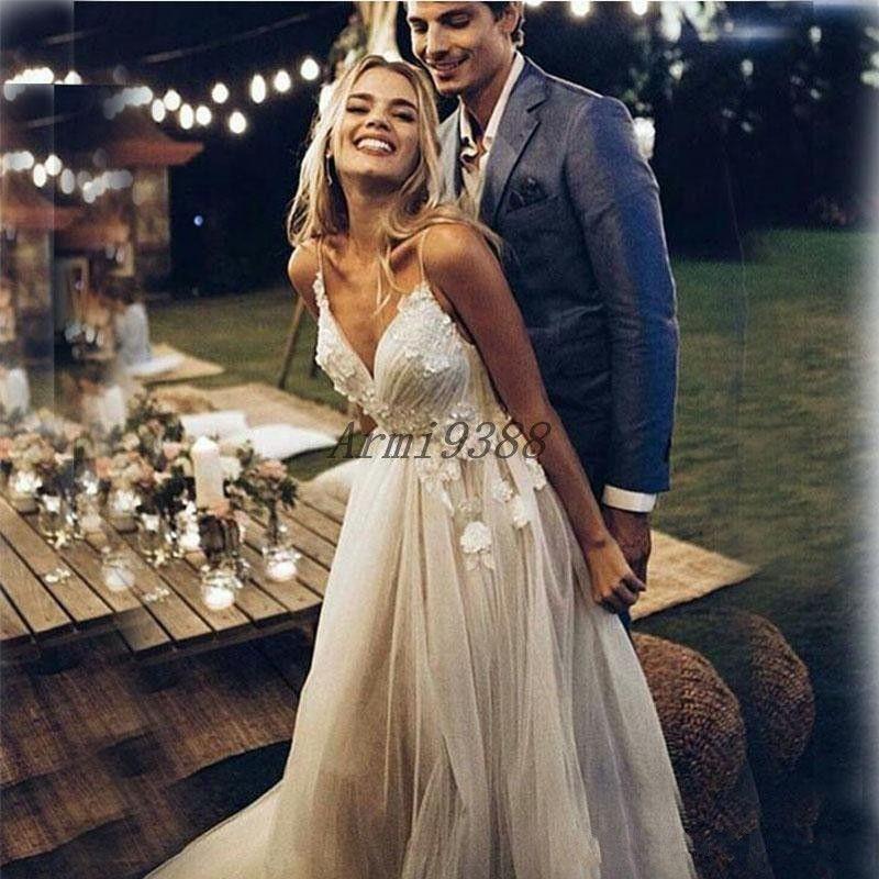 Boho Beach A Line V Neck Wedding Dresses Long Tulle 3D Applique Spaghetti Straps Backless Bridal Gowns vestidos de novia Plus Size