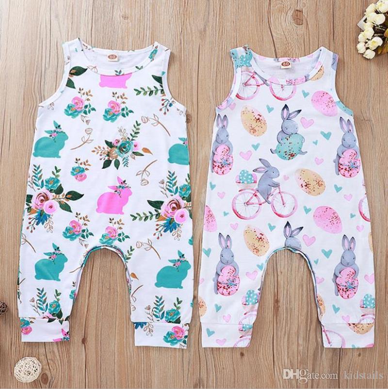 Ostern Baby-Kleidung Häschen Printed Baby Mädchen Strampler Ärmel Neugeborene Mädchen Overall Karikatur-Kind-Overall-Sommer-Baby Kleidung 5009