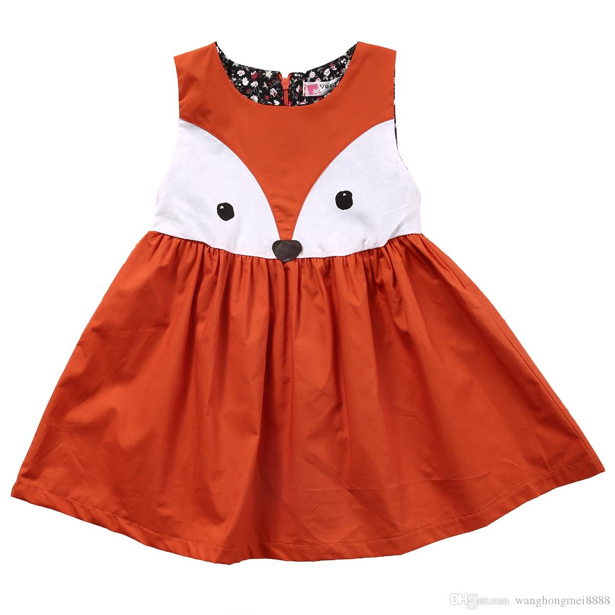 Summer Casual Baby Girls Toddler Kids printed cartoon Fox Dress Formal Party Wedding Tutu sleeveless Dress for girls