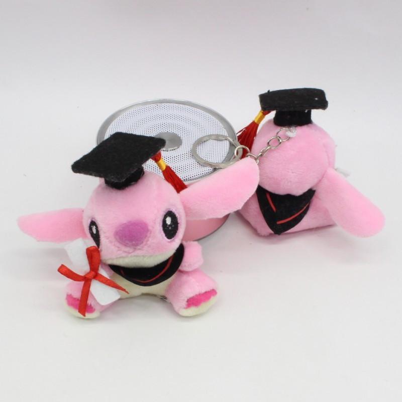 New PhD Stitch Plush Keychain Toys Cute Movie Cartoon Blue/Pink Sitting Stitch Pendants Dolls 7cm 20pcs/lot