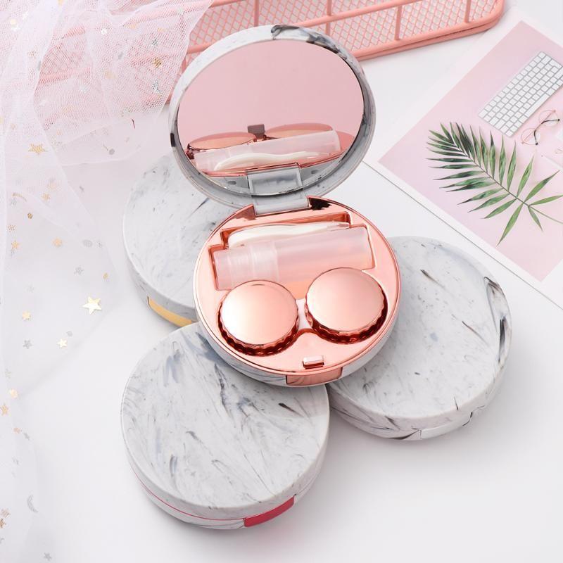 EİE Unisex Moda Mermer Çizgili Kontakt Lens Mini Renkli Yuvarlak Yansıtıcı Seyahat Tutucu Konteyner Saklama Kutusu Kılıf Soaking