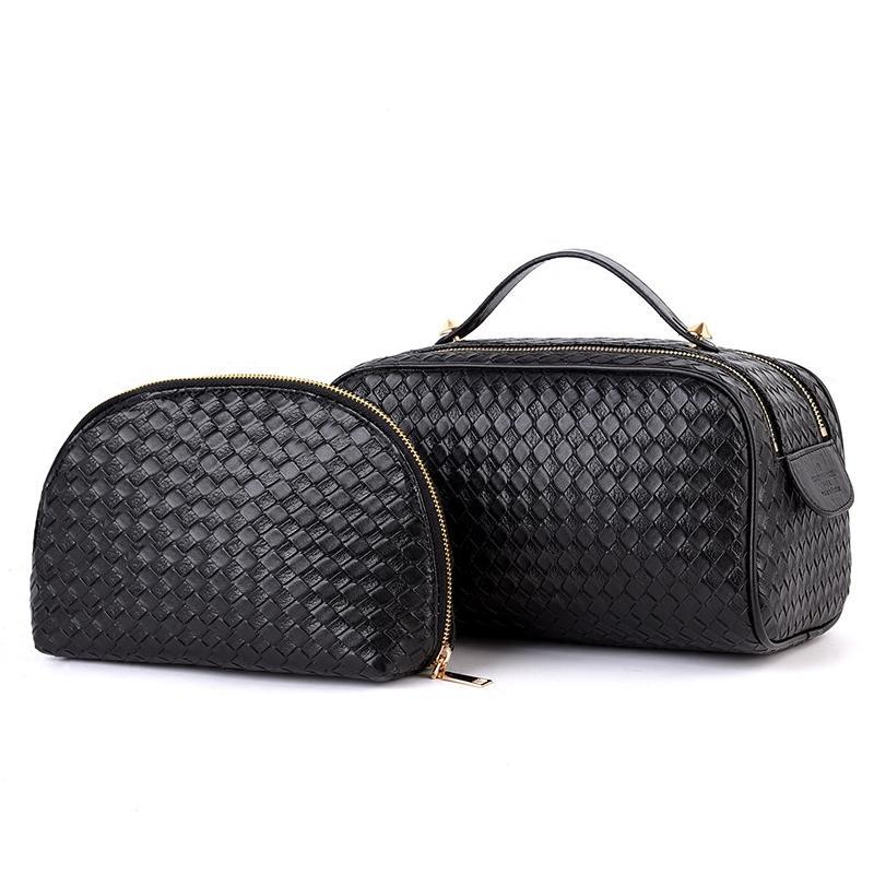 Cuero de la pu bolsa de cosméticos de las mujeres maquillaje armadura tejida tejida monedero de la señora de la cremallera de bolsillo de la caja del organizador de la bolsa 2 unids bolsa set Y181122