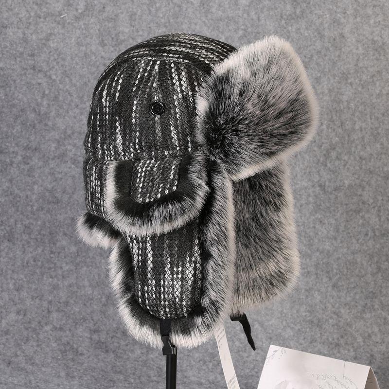 Invierno térmica de espesor de las orejeras de punto sombrero del algodón mujeres de los hombres al aire libre Senderismo Pesca Ciclismo Esquí casquillo caliente Bombardero de Earflaps Lei Feng