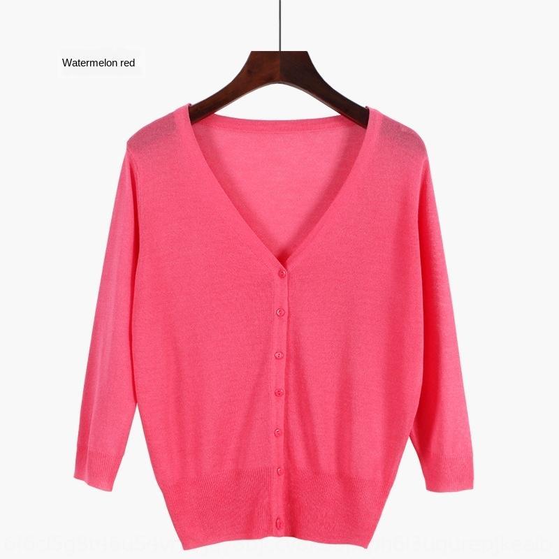 B86h4 2020 estilo coreano curto verão novo meio de manga de cor cardigan sólida gelo V-pescoço das mulheres de malha cardigan verão de seda para coreano