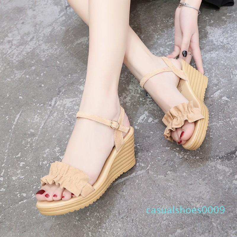 2019 sapatos de verão Cunhas Sandals Buckle Strap Salto Alto sandalias Sandals plissadas mujer zapatos mujer Laides C09