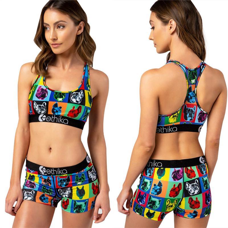 Mode féminine Survêtement été I-forme Soutien-gorge Gilet + Shorts 2 piecs Ensemble bikini femme Crop Top Short Maillot de bain imprimé animal Cartoon Maillots de bain INS