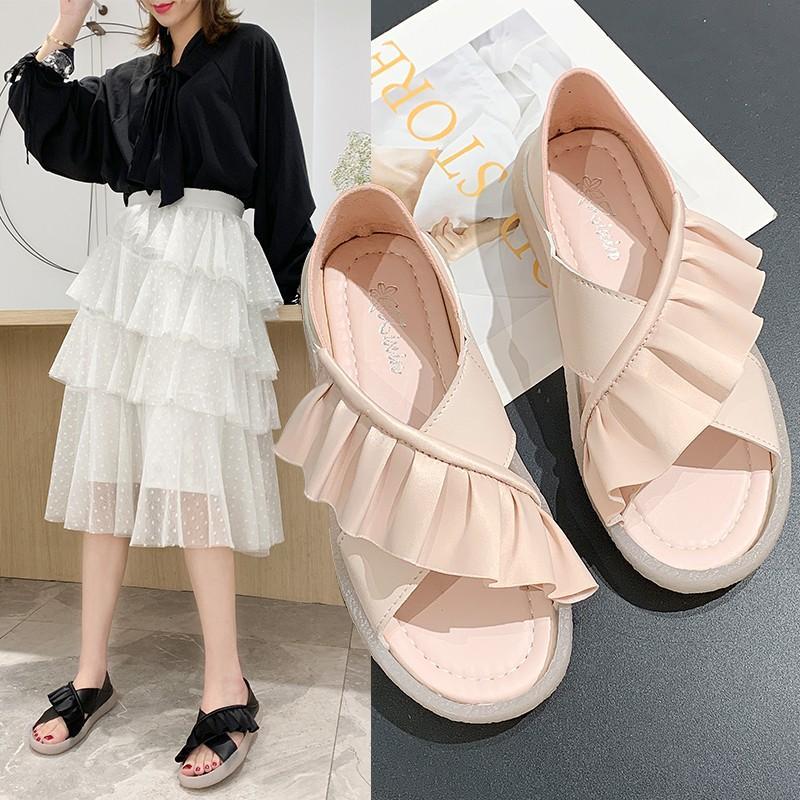 2020 do verão Mulher Sandals Mulheres moda sapatos Gladiador Plano Sandals suave inferior Chaussure Plus Size B710