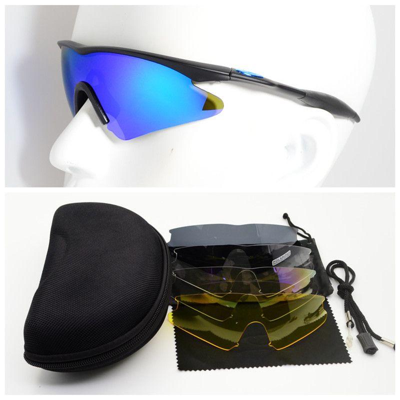 All'ingrosso-Sporty UV400 Protector occhiali da tiro 5 Obiettivo tattico di vetro degli occhiali di protezione Eyewear escursionismo militari Occhiali da sole da caccia