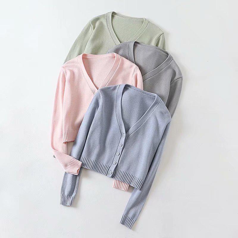 ТРИКОТАЖНЫЕ Кардиган женский свитер сплошной цвет весной и осенью Мода V-образным вырезом с длинным рукавом вязаный свитер Top BM6057