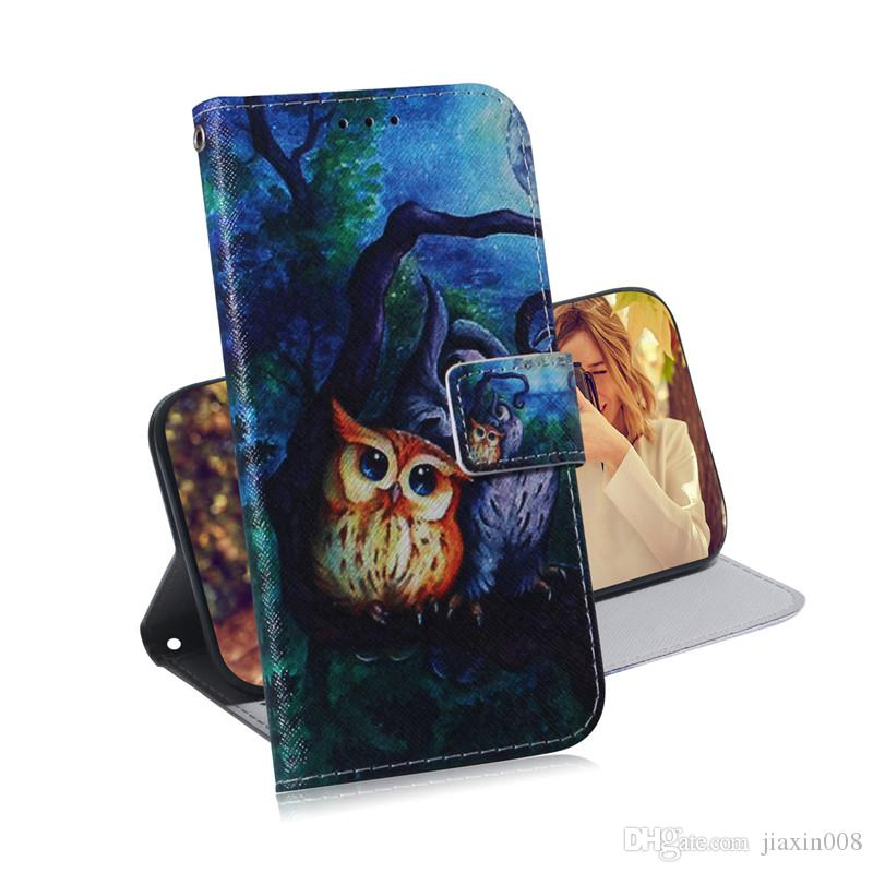 Wallet Case For LG K50/Q60/W10 Filp Cover Hot selling Coloured pattern Wolf tiger lion Owl Dog With Card Slot Design