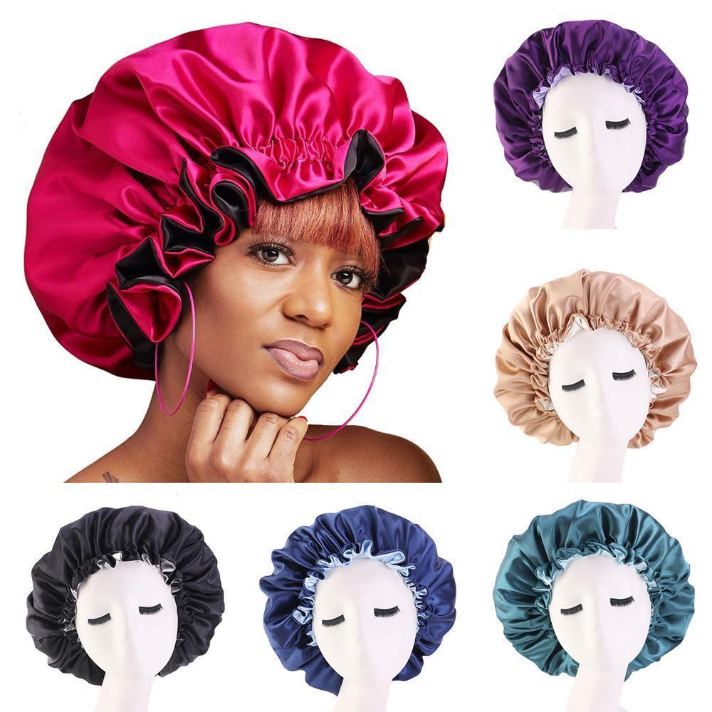Cobrir a cabeça Mulheres noite de sono Cap Satin Elastic Bonnet Hat para cuidar do cabelo Ajuste perda de cabelo Hat Gorros Skullies islâmica Nova