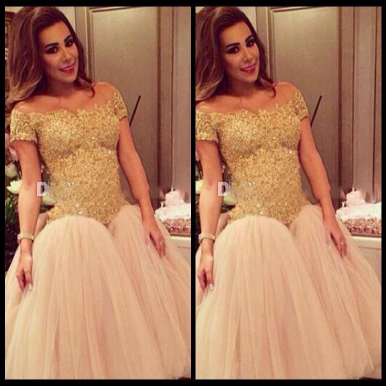 Prom vestidos de manga corta Vestidos De Baile del cordón del oro 2017 recién Champagne tul vestidos de noche árabes niñas longitud de la rodilla