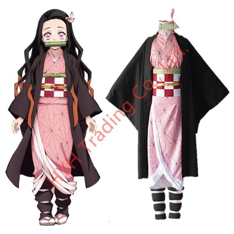 Kimetsu no Yaiba Kamado Nezuko Cosplay Costume Women Kimono Anime Demon Slayer