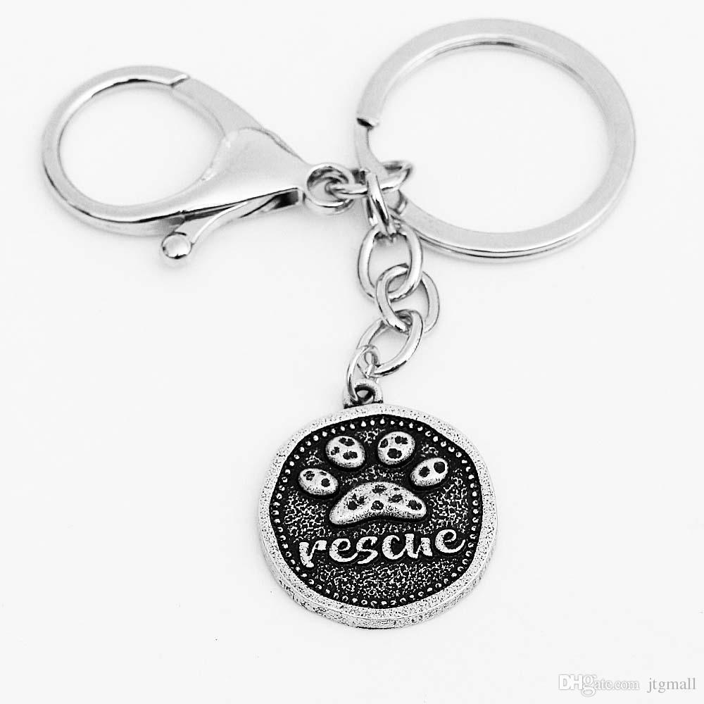 Vintage Dog Keychain Car Key Accessorries Bag Animal Pet Breed Dog Rescue Paw print Pendant Key Ring Holder