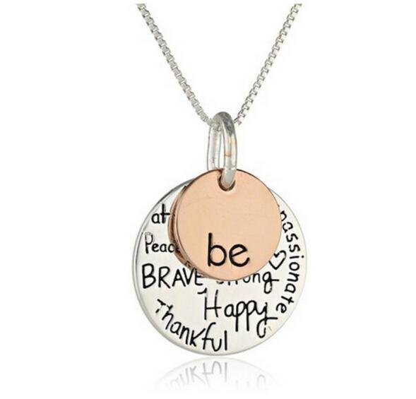 """Hand stamped """"Be"""" Graffiti Friend Brave Happy Necklace Cute coin Engraved Necklace Pendant For Women Girl Jewelry Friendship Gift"""