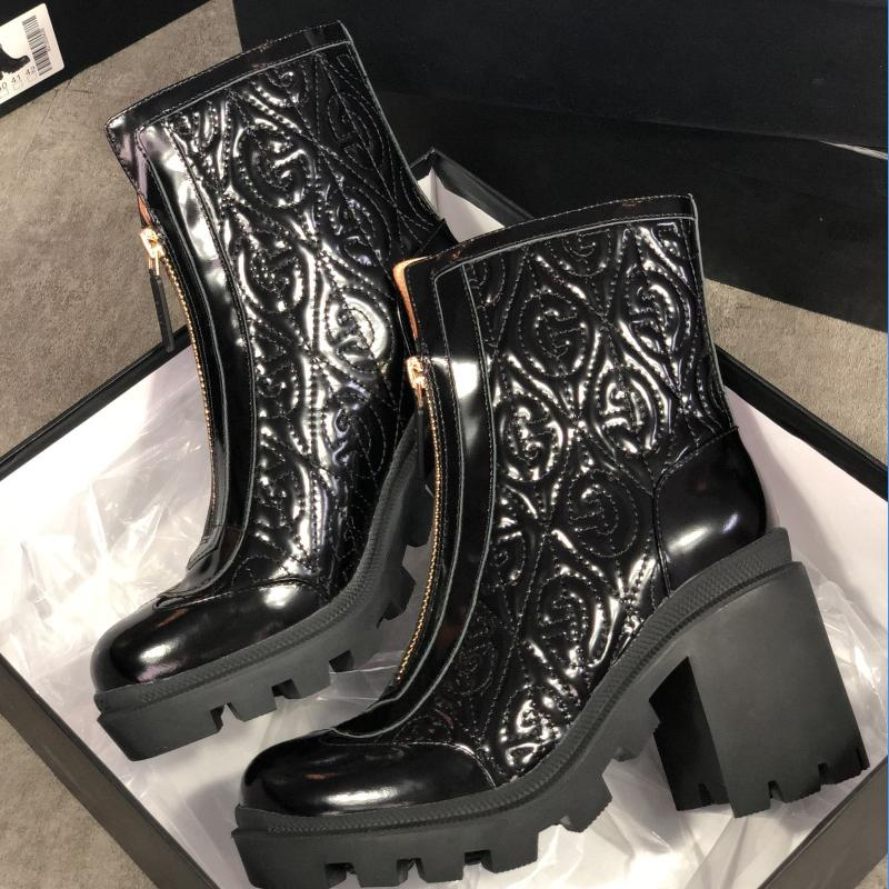 Top Quality Genuine Leather Ankle Martin Boots Black White Women Boot Fashion Chunky Rubber Fold Shoes High Heels With Zipper With Box