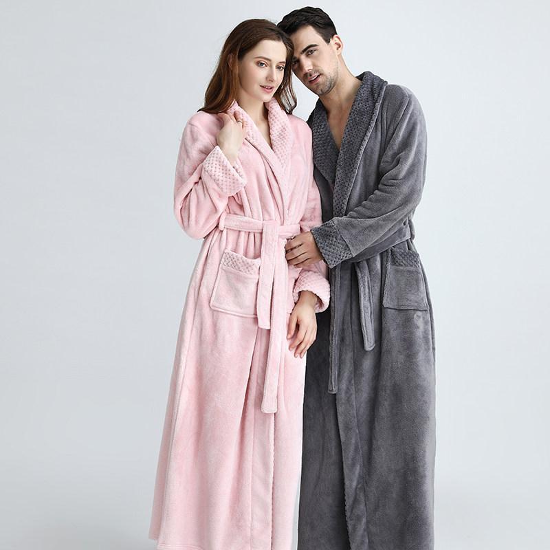 Extralarga Tamaño más cálido invierno polar de coral Albornoz hombres de las mujeres de la franela Dobby kimono Albornoz dama de honor vestido de novia Vestir T200110