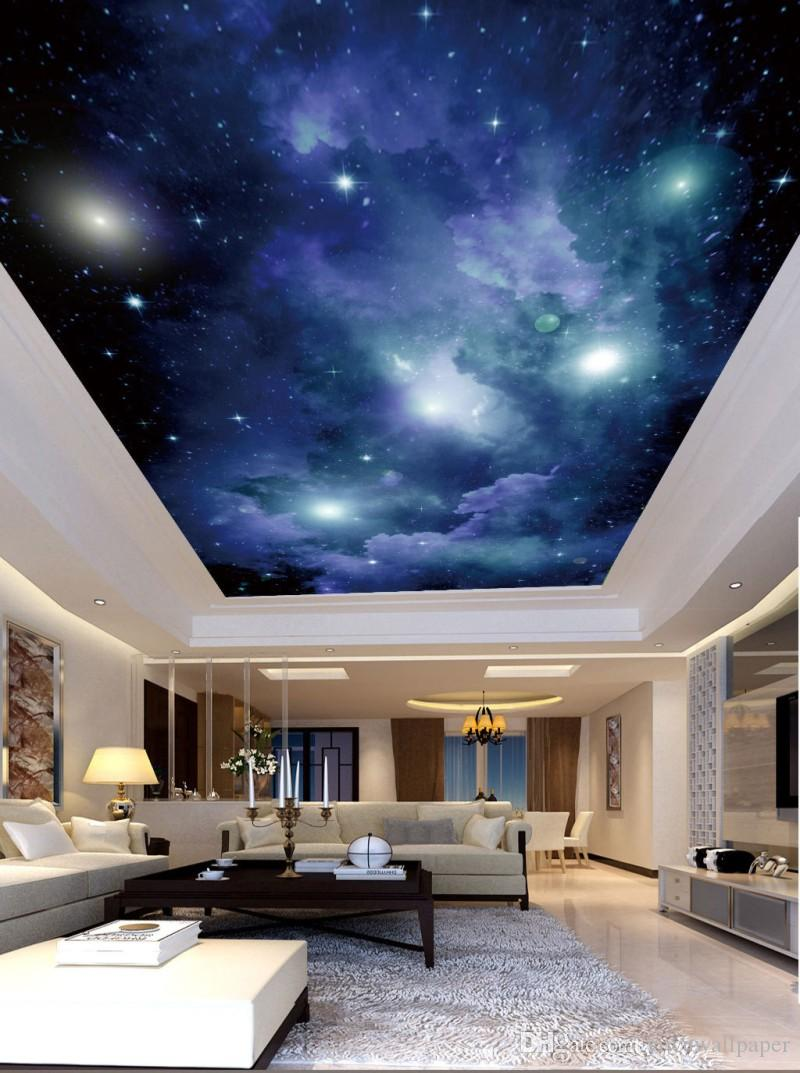 Custom 3d Photo Wallpaper Space Starry Night Scene Ceiling Wall