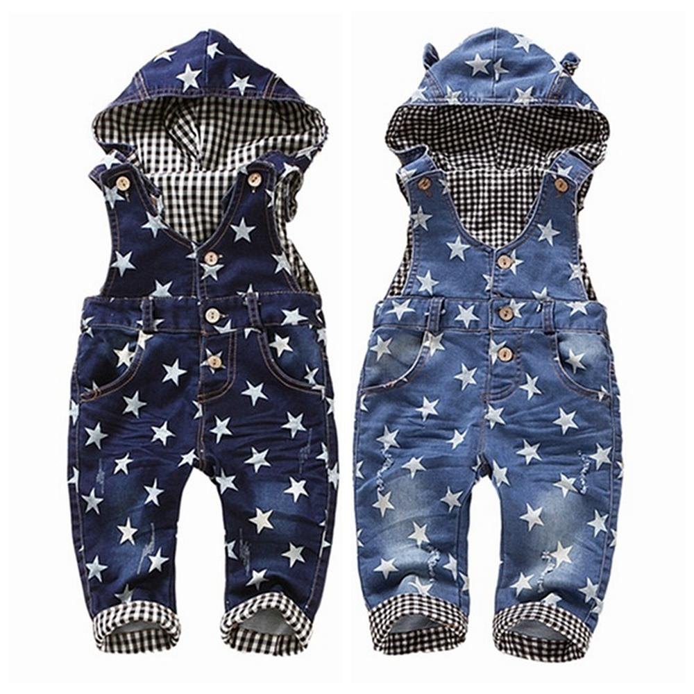 0-4t Baby Overalls Spring Girls Boys Stretchy Stars Jeans Rompers Top Quality Kids Cotton Pants Hooded Jumpsuit Babe Clothes J190524
